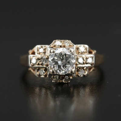 1930s 14K Yellow Gold Diamond Ring