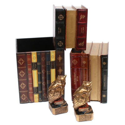 Faux Book Decorative Boxes with Owl Themed Bookends