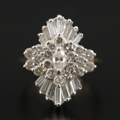 Krementz 14K White and Yellow Gold 1.79 CTW Diamond Cluster Ring