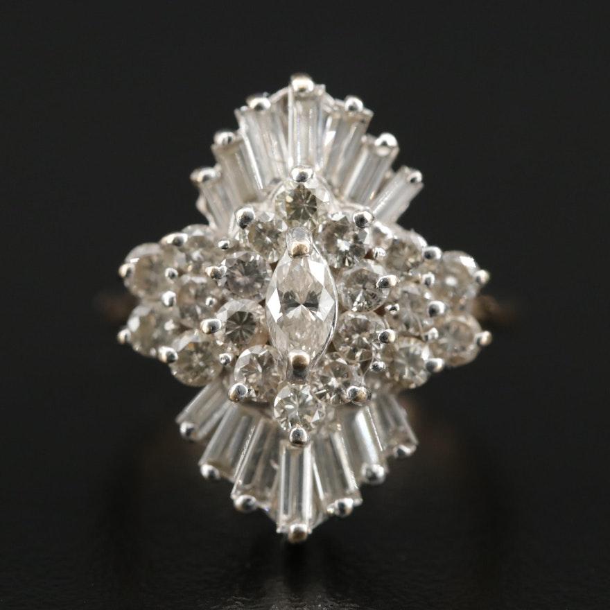 Krementz 14K White and Yellow Gold 1.79 CTW Diamond Cluster Ring