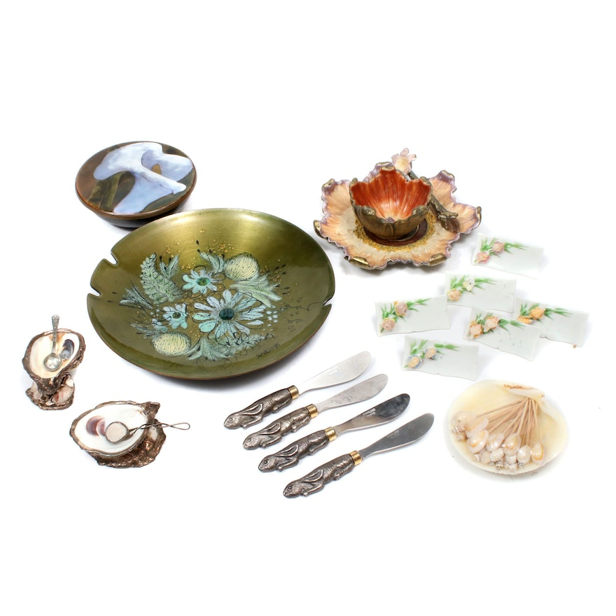 Sascha Brastoff and Other Nature Themed Tableware in Enamel, Shell, and Metal