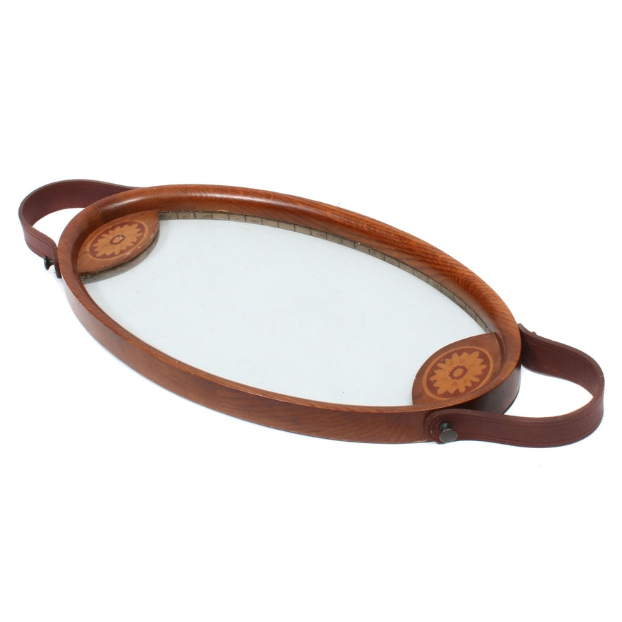 Satinwood Inlaid Glass Tray with Leather Handles