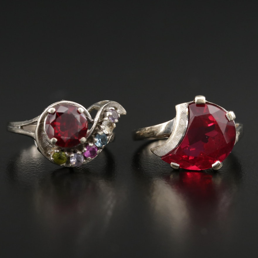 Vintage 10K White Gold Synthetic Ruby and Synthetic Spinel Ring