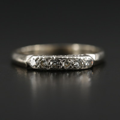 Vintage 14K White Gold Diamond Band