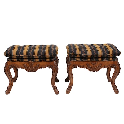 Pair of Louis XV Style Upholstered Wood Benches, Late 20th Century