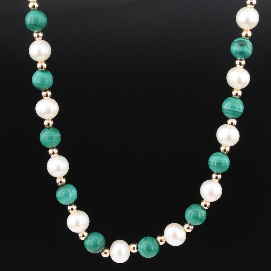 14K Yellow Gold Malachite and Pearl Beaded Necklace