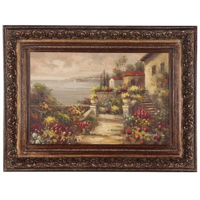 Oil Painting of Seaside Terraced Village