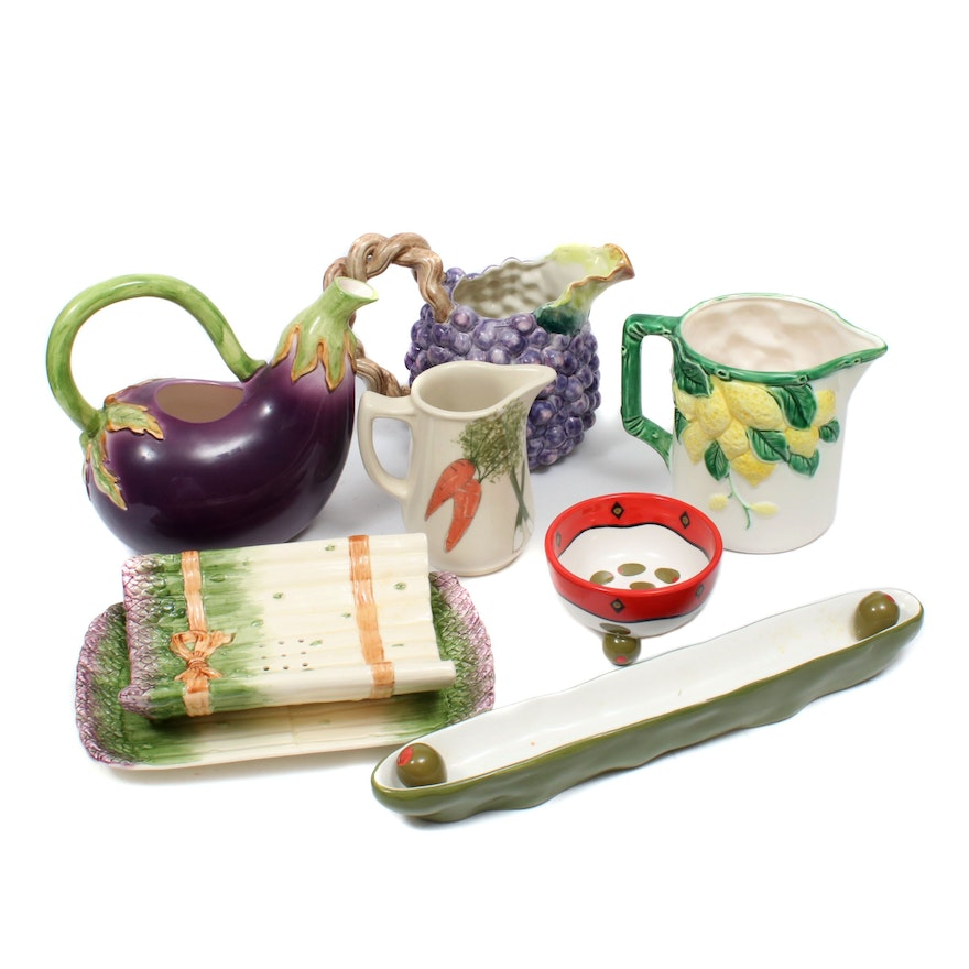 Fitz & Floyd and Other Figural Pitchers and Serveware