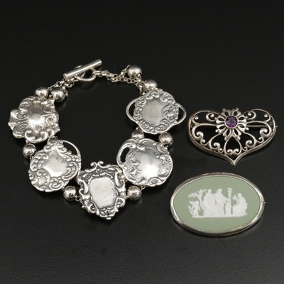 Vintage Foree Hunsicker Sterling Bracelet and Wedgwood Jasperware Brooch
