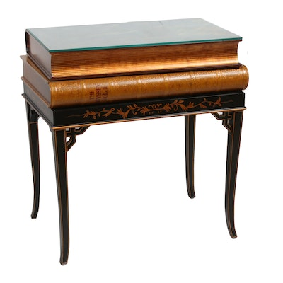 Neoclassical Style Ebonized Stenciled Wood Book-Themed Storage Table