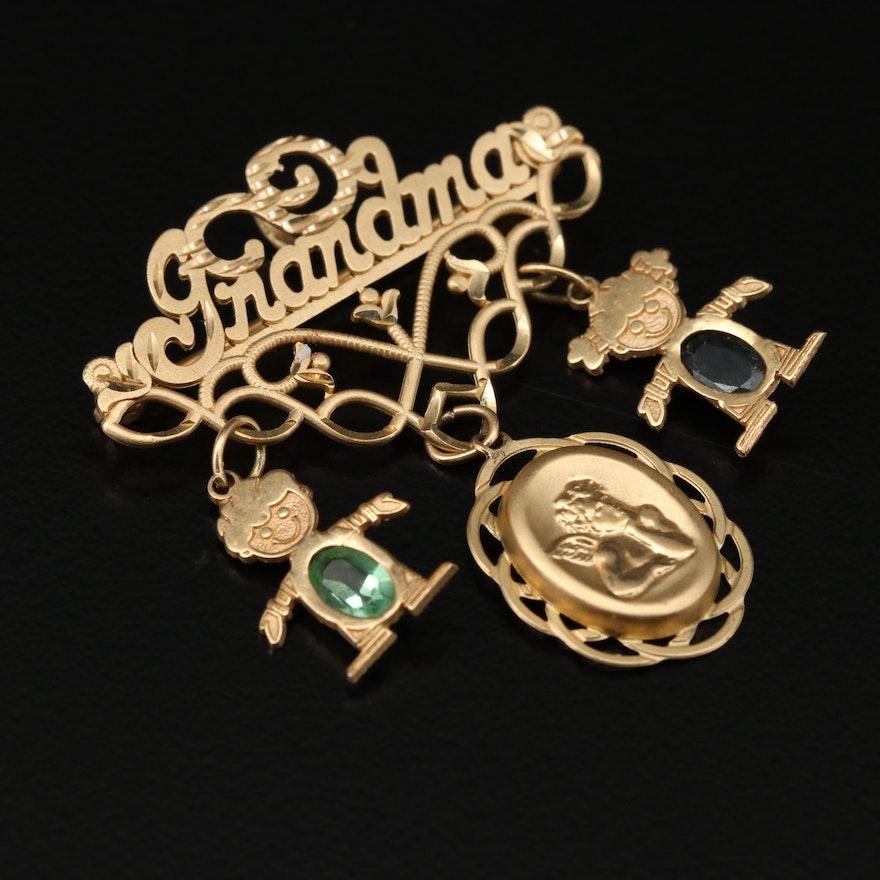 14K Yellow Gold Sapphire Grandma Charm Converter Brooch