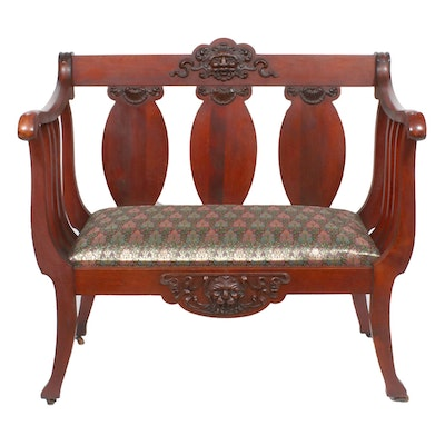 Victorian Walnut-Stained Settee, Early 20th Century