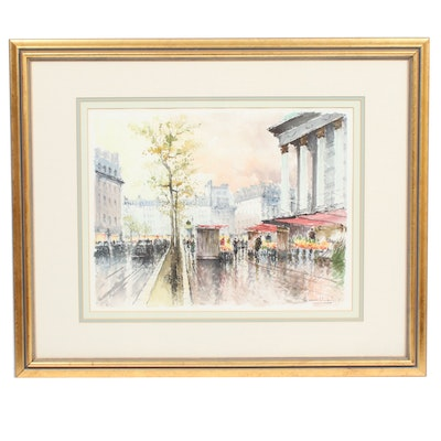 Stephane Wrobel European Street Scene Watercolor Painting