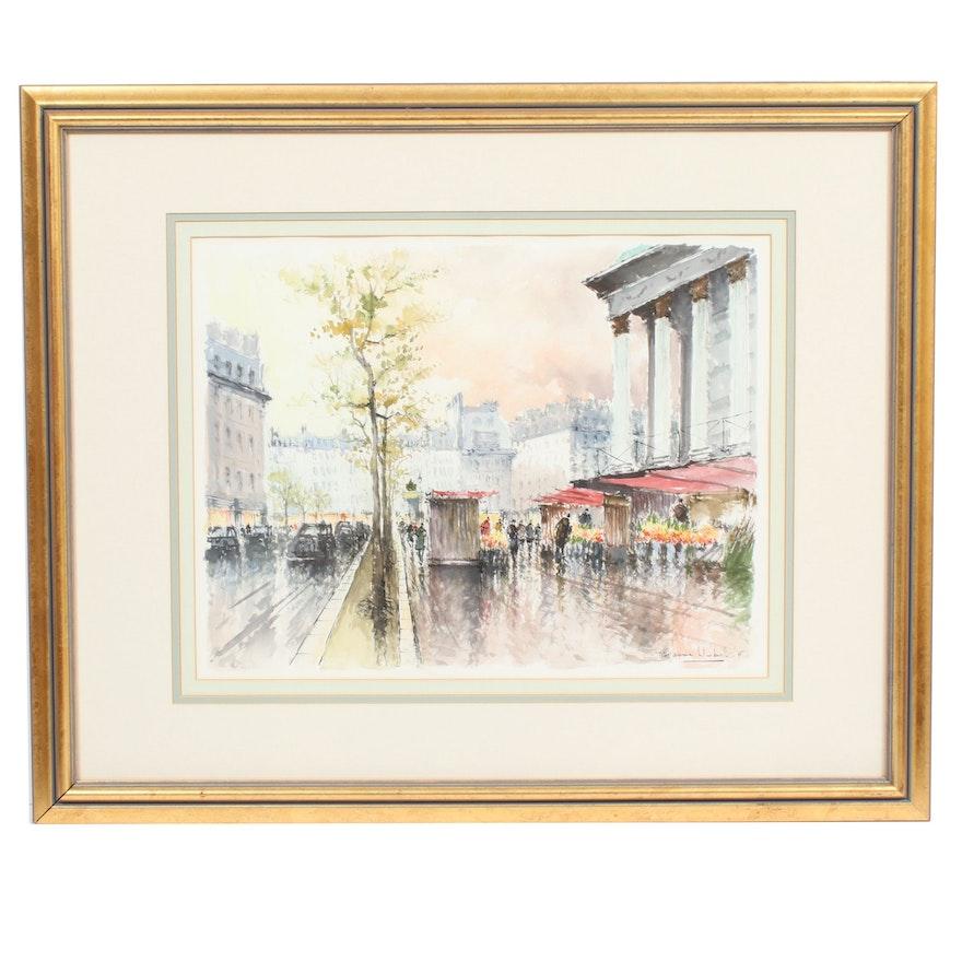 Stephane Wrobel European Street Scene Watercolor Painting