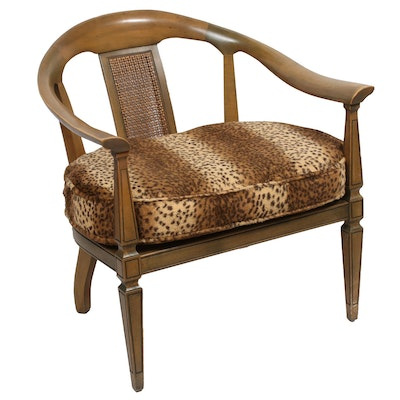 Pair of Armchairs with Cheetah Pattern Removable Cushions, Mid-20th Century
