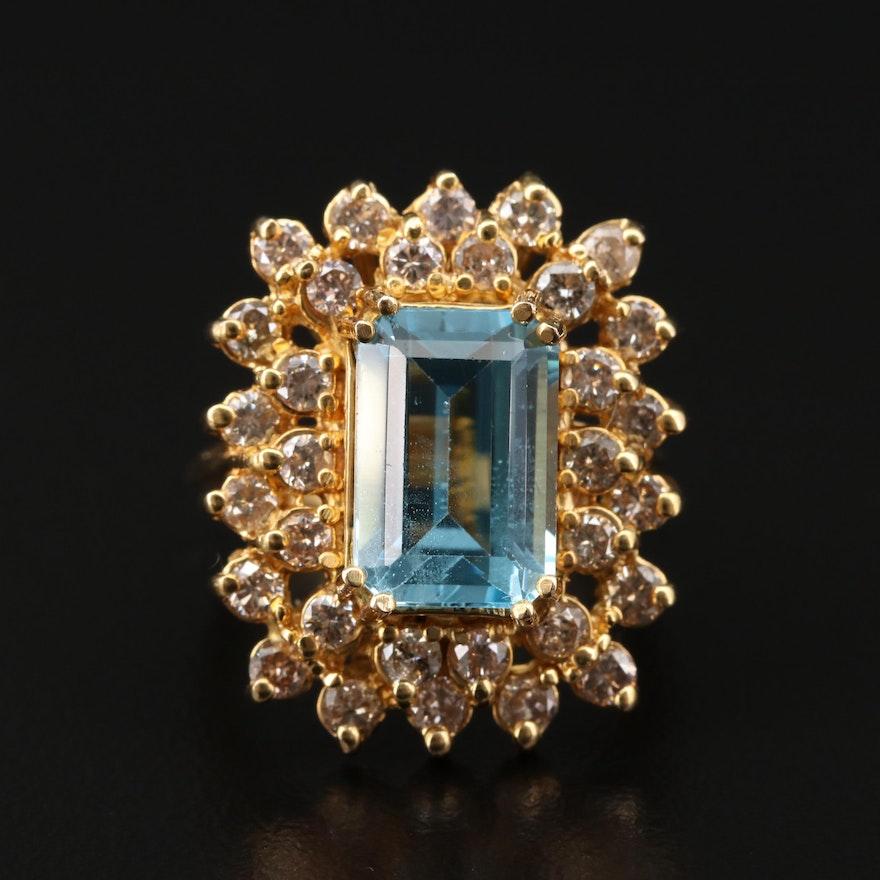 14K Yellow Gold Blue Topaz and 1.44 CTW Diamond Ring