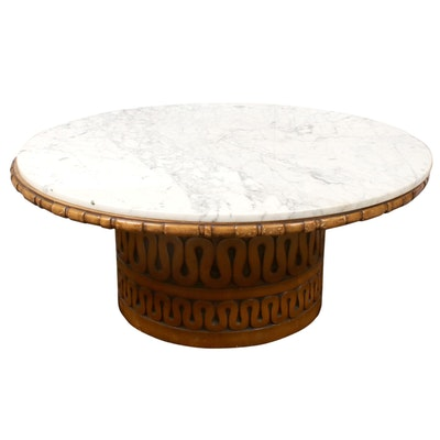 Mid Century Modern Marble-Top Carved Wood Pedestal Coffee Table