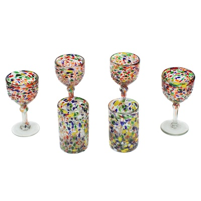 Mexican Blown Glass Confetti Textured Glass Goblets and Tumblers