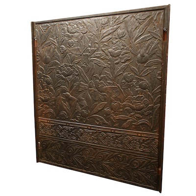 Cast Iron Floral Relief Fireplace Screen Panel, Early 20th Century