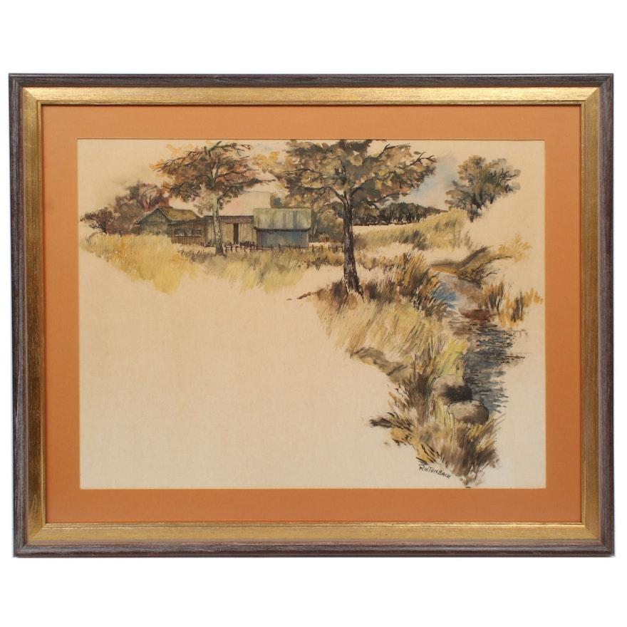 Hans Rietenbach Landscape Watercolor Painting