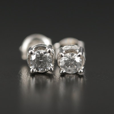 14K White Gold and Sterling Diamond Stud Earrings