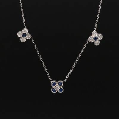 14K White Gold Diamond and Sapphrie Station Necklace