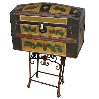 Paint-Decorated Dome-Top Trunk, Late 19th to Early 20th Century