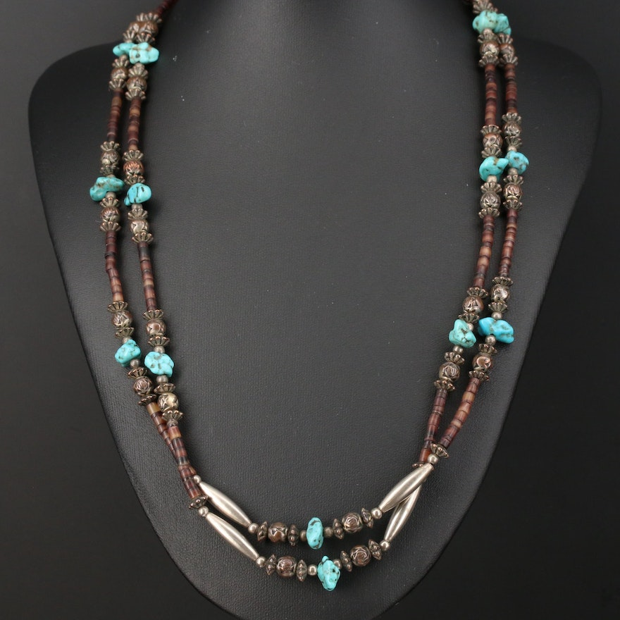 Metal Turquoise Double Strand Necklace