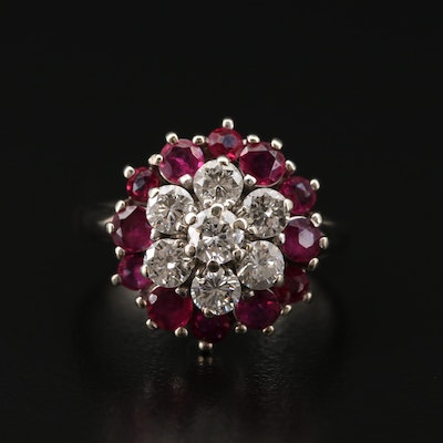14K Gold 1.10 CTW Diamond and Ruby Cluster Ring