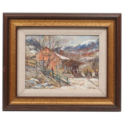 """Leslie Cope Oil Painting """"An Early Snowfall"""", 1979"""