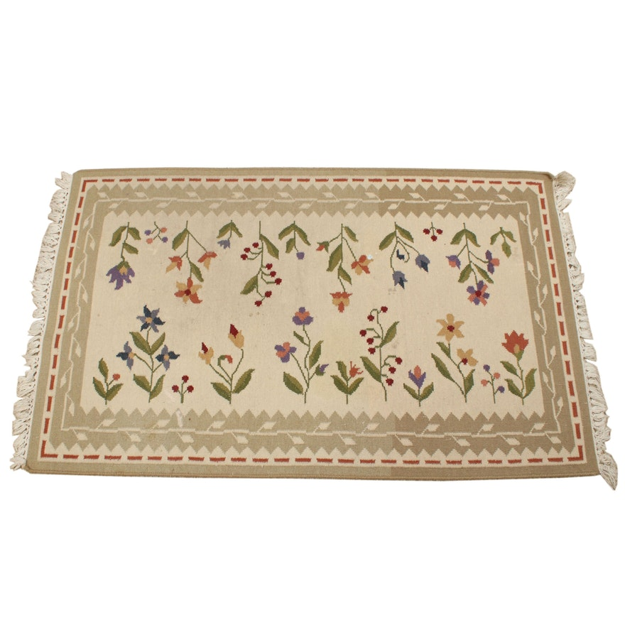 3' x 5' Handwoven Floral Motif Kilim Rug
