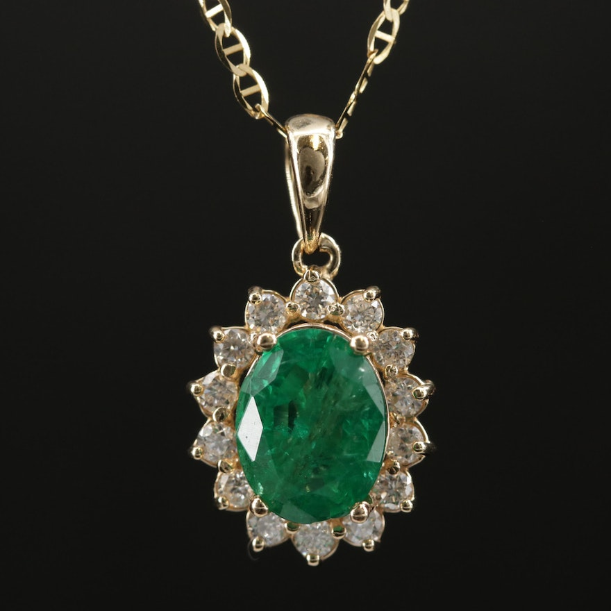 14K Yellow Gold Emerald and Diamond Halo Pendant Necklace