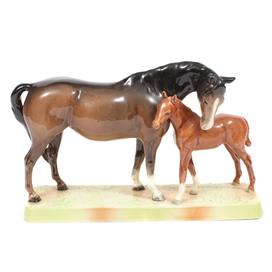 Beswick Horse and Colt Ceramic Sculpture
