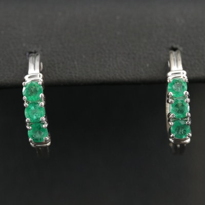 14K White Gold Emerald Hoop Earrings