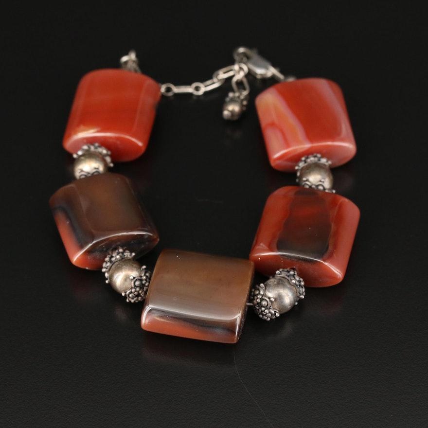 Sterling Agate Beaded Bracelet