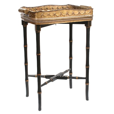 Castilian Imports Reticulated Brass Tray Top Collapsible Table