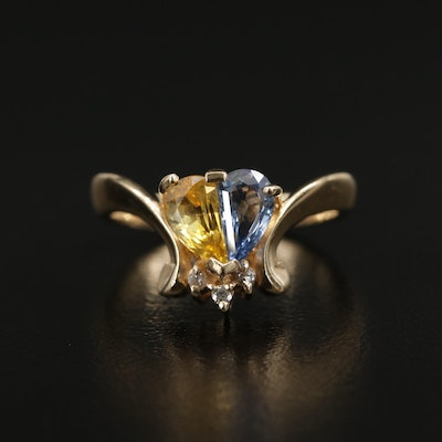 14K Yellow Gold Sapphire, Fancy Sapphire and Diamond Ring