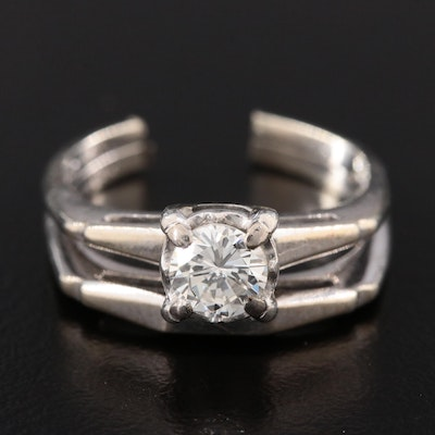 14K White Gold and Platinum 0.49 CT Diamond Scrap Ring