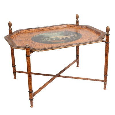 Toleware Style Polychrome Decorated Dog Motif Tray Table