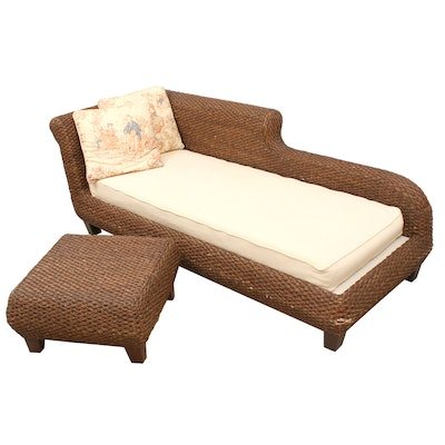 Smith & Hawken Woven Water Hyacinth Chaise Lounge with Ottoman