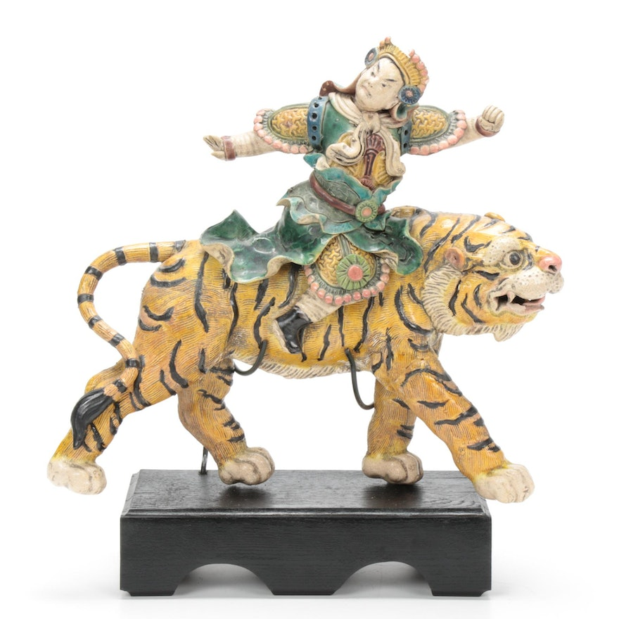 Chinese Qing Dynasty Figural Ceramic Tiger Roof Tile