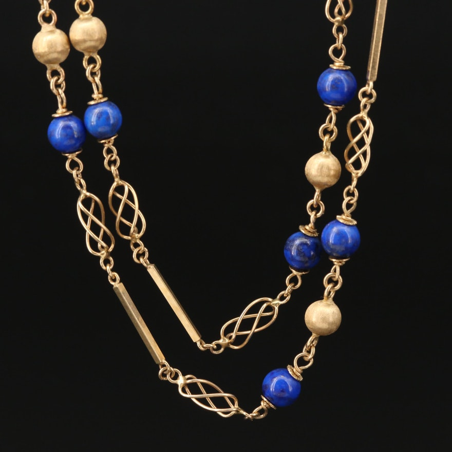 14K Yellow Gold and Lapis Lazuli Beaded Necklace