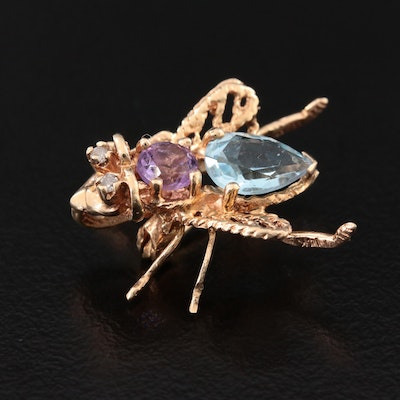 Vintage 14K Topaz, Amethyst and Diamond Fly Converter Brooch