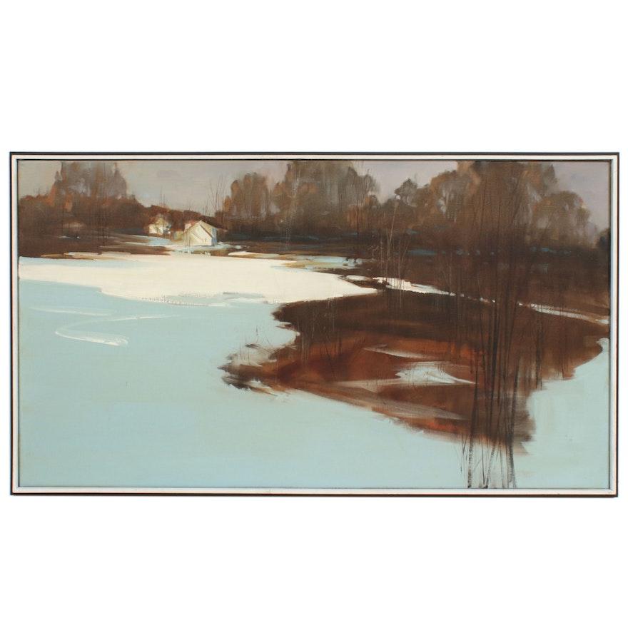 Robert Brubaker Winter Landscape Oil Painting