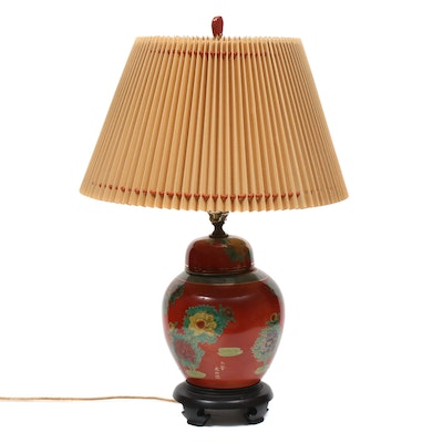 Chinese Hand-Painted Ginger Jar Table Lamp, Mid to Late 20th Century
