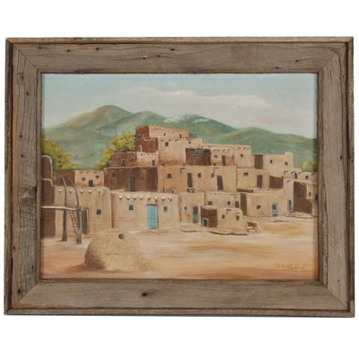 Taos Pueblo Landscape Oil Painting, 20th century