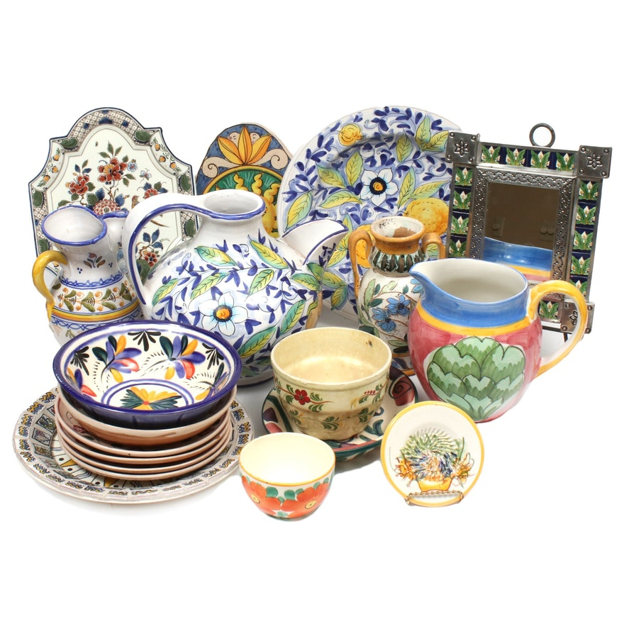Hand-Painted Majolica and Other Serveware and Table Accessories