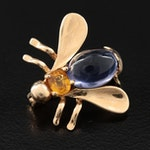 14K Yellow Gold Tanzanite and Yellow Sapphire Bumble Bee Brooch