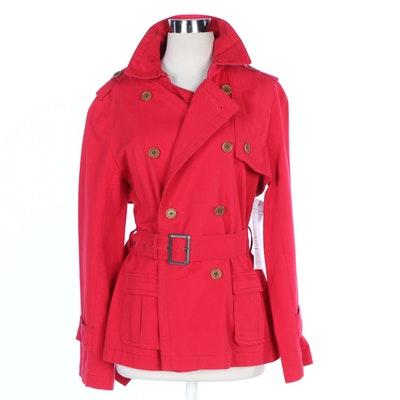 J. Peterman Red Short English Trench Coat, Design Sample