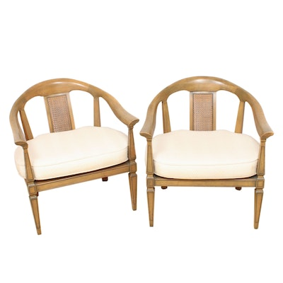 Pair of Barrel-Back Armchairs with Removable Cushions, Mid-20th Century